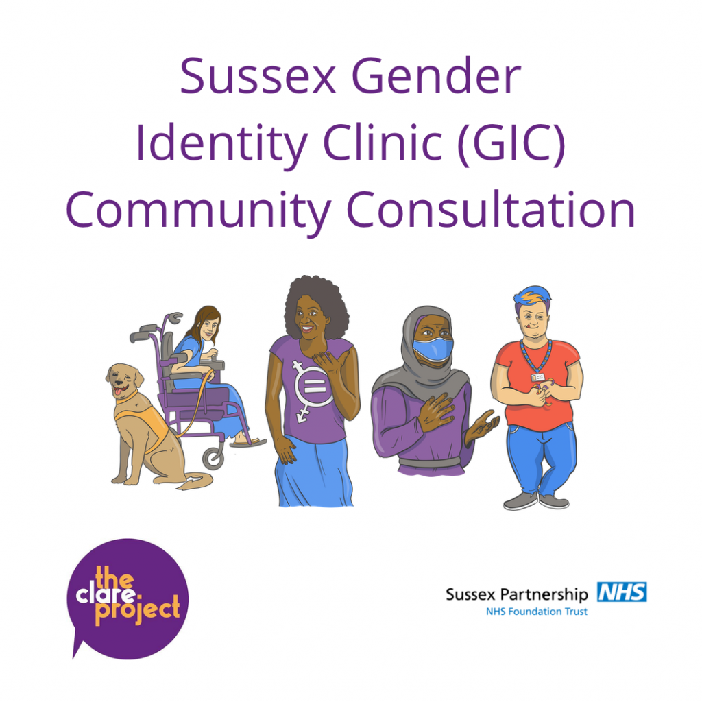 Description: A poster for the Sussex Gender Identity Clinic (GIC) Community Consultation, with four illustrations of trans and/or non-binary people in the centre of the image. At the bottom of the poster is two logos, one for The Clare Project and one for Sussex Partnership NHS Foundation Trust.